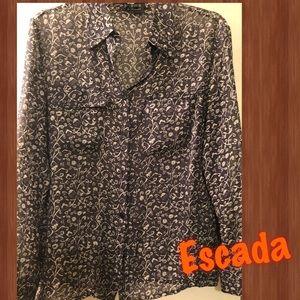 Escada Silk Floral button up blouse Size 38